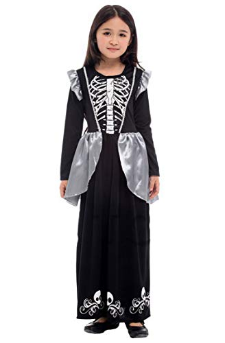 Seipe Halloween Costumes Girls Skeleton Attire Dress Magical Witches Stage Apparel