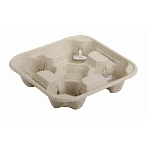 Disposable Moulded Pulp 4 cup Carry Tray (Pack 500) - great for parties, bbqs, picnics and events