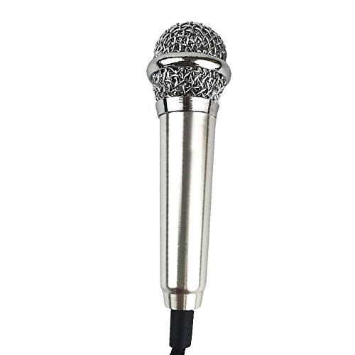 Mini Condenser Microphone for Smartphones Tablets PC Desktops Computers Microphone with Adapter Cable Ideal for Phone Calling Internet Chatting Vocal Recording Karaoke Sing (Color : Silver)