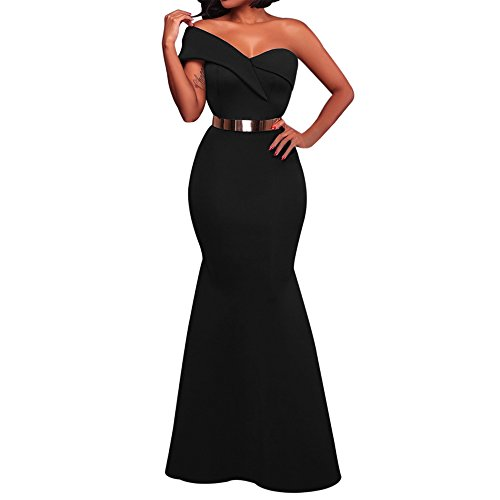 (SEBOWEL Women's Sexy One Shoulder Ponti Gown Mermaid Evening Maxi Cocktail Party Dress Black M)