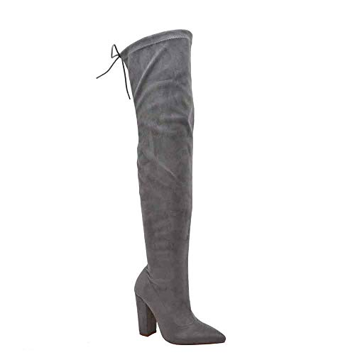 (Olivia and James Women's Over The Knee Boots | Thigh High Stretch Upper | Pointy Toe | Chunky Block Heel Boot (6, Grey Suede))