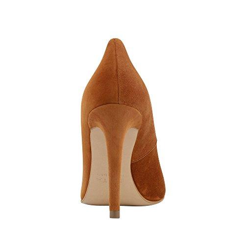 cognac Scarpe Col Shoes Tacco Evita Donna Marrone YqOCE5