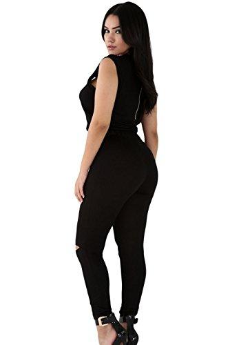 Neue Damen Schwarz Reißverschluss Detail einteiligen Skinny Jumpsuit Catsuit Spielanzug Bodysuit Club Wear Kleidung Größe S UK 8