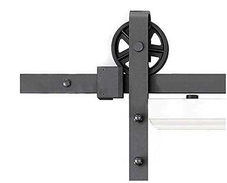 DIYHD 6ft Industrial Wheel Sliding Barn Wood Door Interior Closet Door Kitchen Door Track Hardware (6FT Kit) 156FT