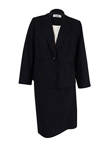 Black Pinstripe Skirt Suit (Le Suit Women's Plus Size Pinstripe 1 Button Jacket Skirt W/Cami, Black/Ivory, 18W)