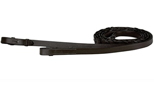 Paris Tack English Flat Laced Reins, Havana, Oversize