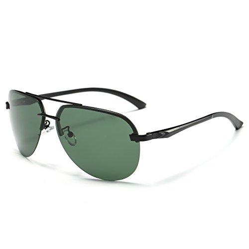de Hombre Marco Lente conducción de JULI UV Aviador Protección 400 gafas Negro sol Verde polarizado wC4ZFE