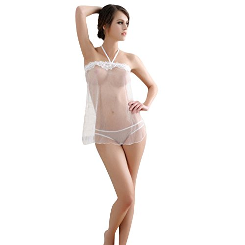 Respctful Women Sexy Lingerie Lace Halter Perspective Vacuum Bandge Dress G-String Set Underwear (White, Free Size)