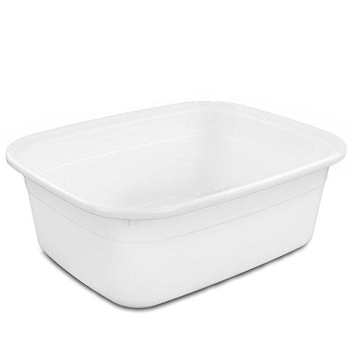 Eagrye Rectangular Plastic Dish Pan/ Wash Basin, 15.23-Inch x 12.12-Inch x 5.51-Inch, Set of 4 (White) (4 Plastic Pans)