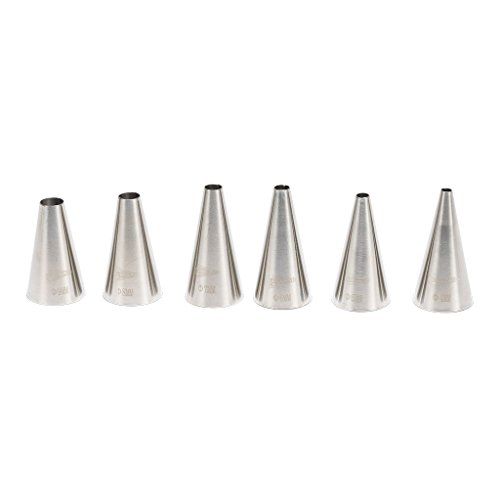 Stainless Round Tip - Patisse 6 pieces Decorating Tips Set Assorted Sizes Round End Out Made of Stainless Steel