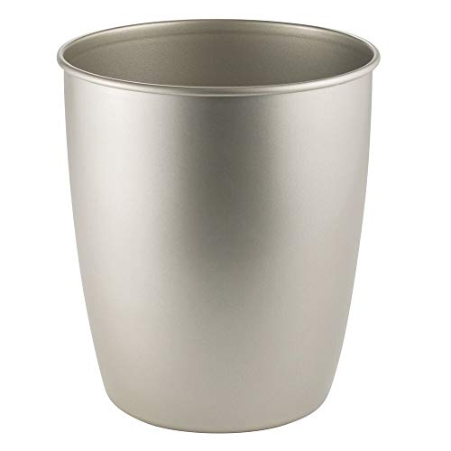 - mDesign Round Metal Small Trash Can Wastebasket, Garbage Container Bin for Bathrooms, Powder Rooms, Kitchens, Home Offices - Durable Steel - Satin