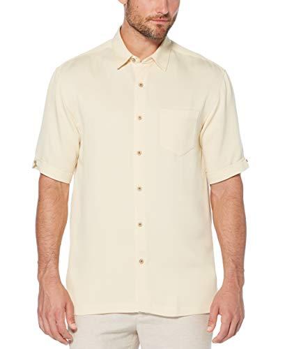 Cubavera Men's Short Sleeve Tonal Stitching Button-Down Cuban Camp Shirt, Bleached Sand, Extra Large