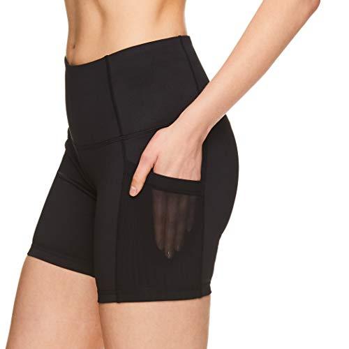 Medium High Waisted Performance Workout Short Reebok Womens Compression Running Shorts Uptown High Rise Black