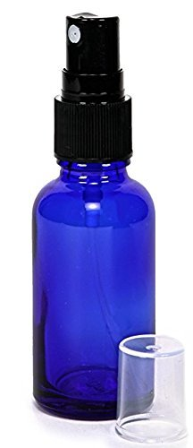 GPS Cobalt Blue Boston Round Glass Bottle with Black Fine Mist Sprayer, 2 Oz, Set of 12 by GPS (Image #2)