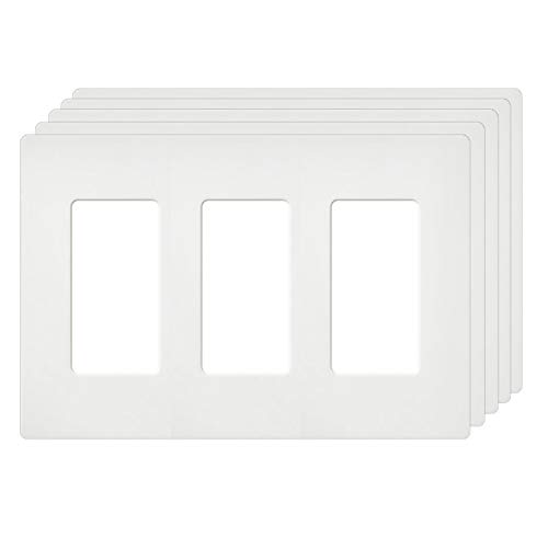 [5 Pack] BESTTEN Screwless Wall Plates, USWP4 Series, 3-Gang Outlet Covers for GFCI, Decorator Receptacle, Dimmer and Light Switch, Residential and Commercial Grade, UL Listed, White
