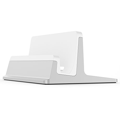 UPPERCASE KRADL Pro Small Profile Aluminum Vertical Stand for Retina MacBook Pro 13'' or 15'' (2012 to 2015 Releases), Silver/White by UPPERCASE (Image #1)