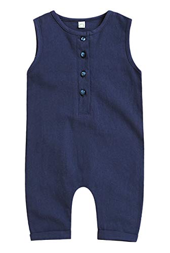 Mini honey Infant Toddler Baby Girl Boy Sleeveless Romper Jumpsuit Shorts Summer Outfit Clothes (18-24 Months, Blue)