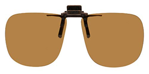 Polarized Clip-on Flip-up Plastic Sunglasses - Square - 60mm Wide X 54mm High (136mm Wide) - Polarized Brown Lenses - Shade Control G-Clips ()
