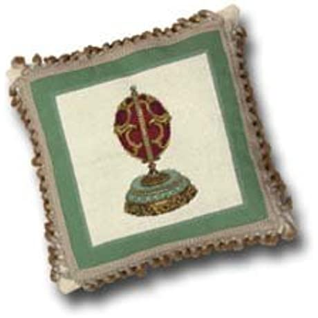 17 Inches Needle Point Petit Point Pillow Red Gold Faberge Egg