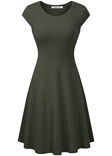 Olive Womens Dress - HIKA Women's Casual Elegant A Line Short Cap Sleeve Round Neck Dress (X-Large, Olive)