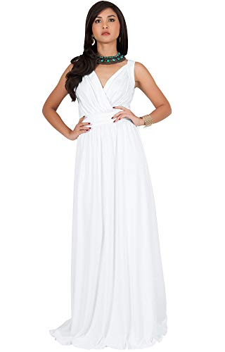 Ivory Cocktail Dresses - KOH KOH Plus Size Womens Long Sleeveless Flowy Bridesmaids Cocktail Party Evening Formal Sexy Summer Wedding Guest Ball Prom Gown Gowns Maxi Dress Dresses, Ivory White XL 14-16