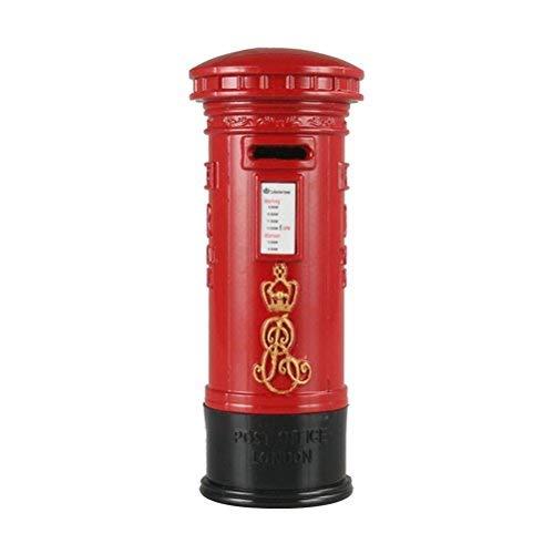 Toyvian 7'' British Decor | Mailbox Piggy Bank, Red Vintage Coin Money - Coin Bank Vintage