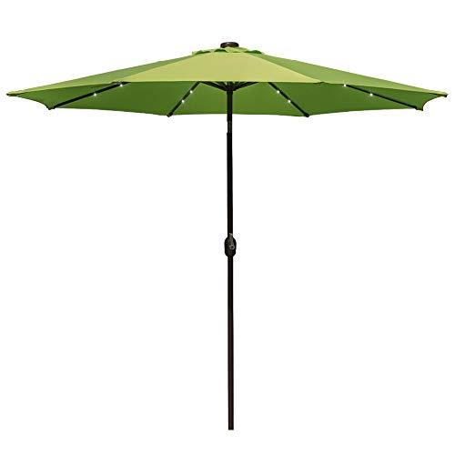 Garden Back Antique Green - Sundale Outdoor 10 ft Solar Powered 24 LED Lighted Patio Umbrella Table Market Umbrella with Crank and Push Button Tilt for Garden, Deck, Backyard, Pool, 8 Steel Ribs (Apple Green)