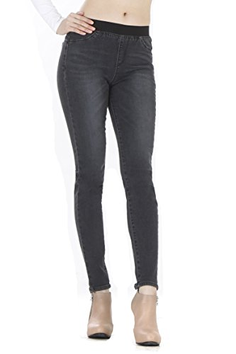 WeHeart Mascara Women Skinny Jeans Jeggings Pants Elastic Waist Black-Jean Medium by WeHeart (Image #3)