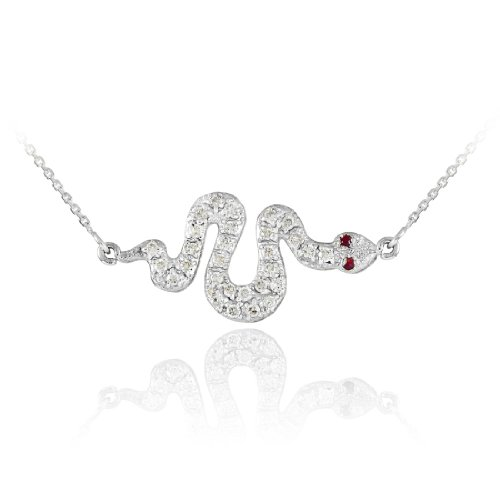 14K White Gold Diamond Snake Sideways Pendant Necklace with Ruby Accents (16 Inches)