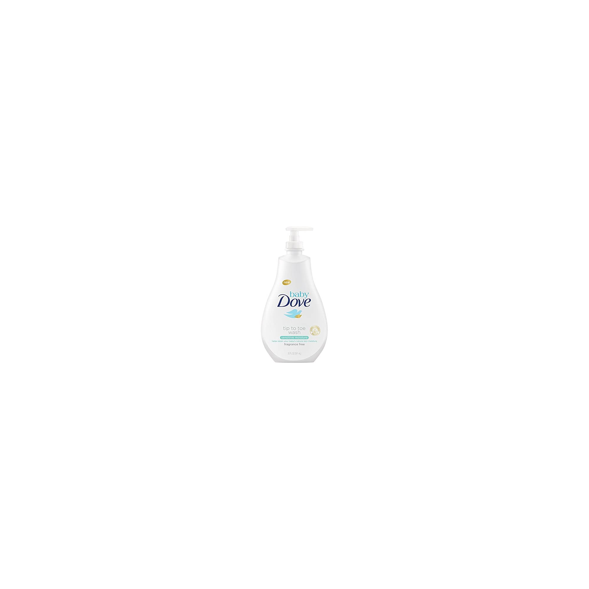 Baby Dove Tip to Toe Baby Wash Sensitive Moisture 20 oz for Sensitive Skin Washes Away Bacteria, Fragrance-Free Baby Wash