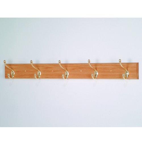 Wooden Mallet 12-Inch 2-Peg Coat Rack, Light Oak Brass Oak Coat Rack