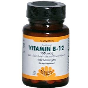 500 Mcg Folic Acid (Country Life Vitamin B-12, 500 mcg, with Folic Acid (Sublingual Lozenges),)