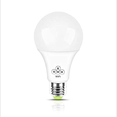 Alotm Smart Bulb, Wake-Up Wi-Fi LED Bulb, APP Control, Multicolored Lights, Dimmable, RGBW Led Light Bulb 4.5W, No Hub Required, Works with Alexa and Google Assistant