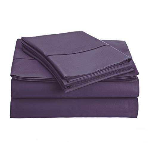 Audley Home 800 Thread Count 100% Egyptian Cotton Extra Long Staple Bed Sheet Set 3 Piece Bedding Extra Deep Pocket Upto 18' Soft Breathable Hypoallergenic (Twin XL, Plum)