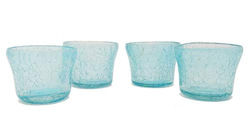 - MystiqueDecors Cute Little Tealight Votive Candle Holders Glass Votives Crackled Finish, Aqua Blue Color Set of 4 for Decorations on Thanksgiving Christmas Gift