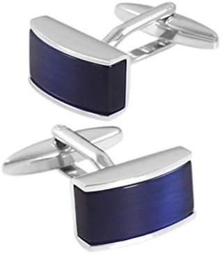 絶妙な クリスタルカフスのためにメンズ、ブルー宝石フランスのビジネスシャツカフスボタンのギフトボックス (Color : Rectangular)