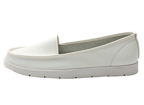 Dqq Womens Bout Rond Slip-on Mocassins Chaussures Plates Blanc