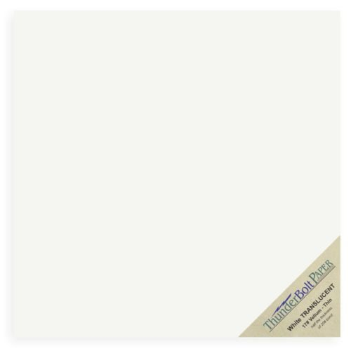 50 Sheets White Translucent 17# (pound) Vellum Paper 12 X 12 Inches Scrapbook Size Light Weight by ThunderBolt Paper