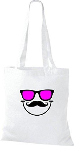 Bolsa de tela Gafas de sol Mousetache Barba gracioso Smiley Culto Bolsa de algodón muchos colores Blanco