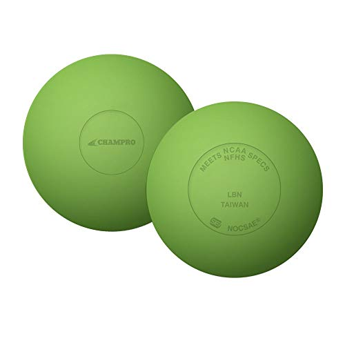 CHAMPRO Sports 2 Pack Official Rubber Lacrosse Balls, NFHS & NCAA Approved (Lime Green) ()