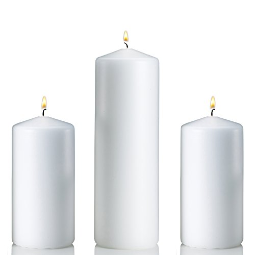 Light Set of 3 Unscented Pillar Candles 3x9
