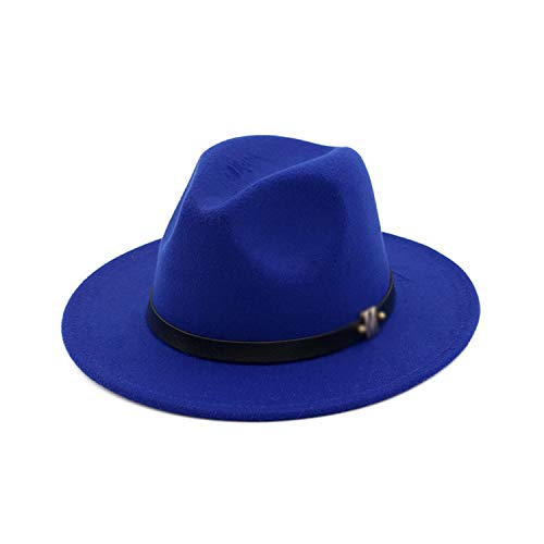 (Trend M Letter Leather Decoration Wool Felt Jazz Fedora Hats Men Women Flat Brim Panama Gambler Hat Fascinator Sombrero Sapphire Blue 55To58Cm)
