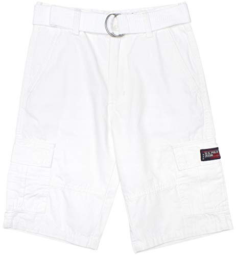 U.S. Polo Assn. Boys' Classic Fit Mini Ripstop Cargo Shorts with Belt, White, Size 16' (16' Belt)