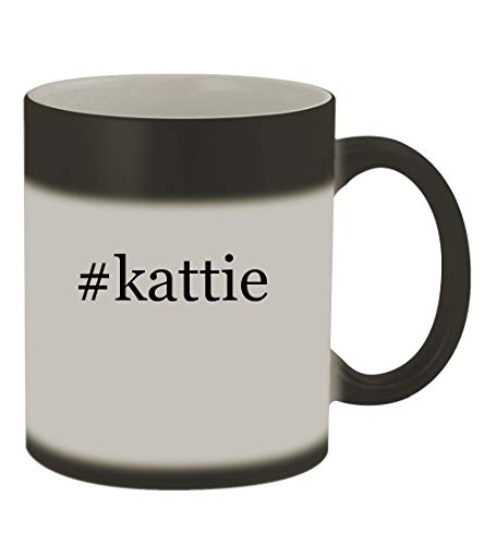 #kattie - 11oz Color Changing Hashtag Sturdy Ceramic Coffee Cup Mug, Matte Black