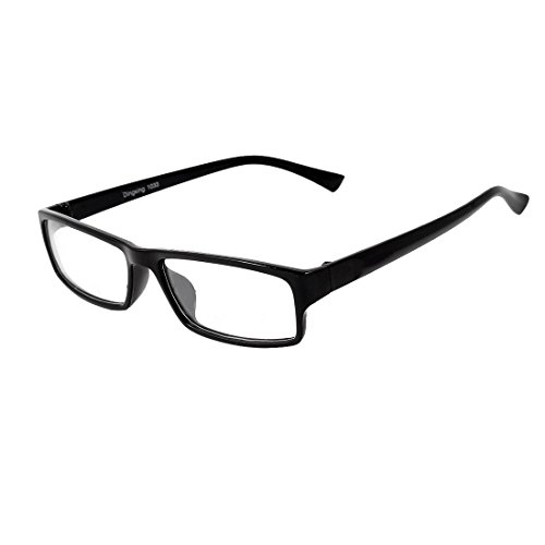 Unisex Full Rims Black Arms Clear Lens Plastic Frame Plain - Black Plain Glasses