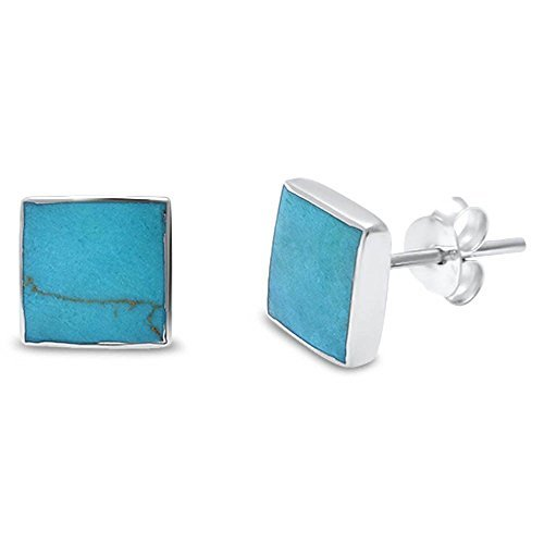 Silver Sterling Inlay Blue Turquoise (Blue Apple Co. 6mm Square Simulated Turquoise Stud Post Earrings Solid 925 Sterling Silver)