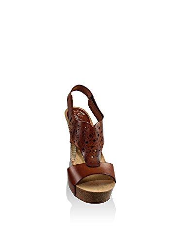 ESTHER GARCÍA Piel Grabada Artesanal - Sandalias de tacón Mujer Nuez
