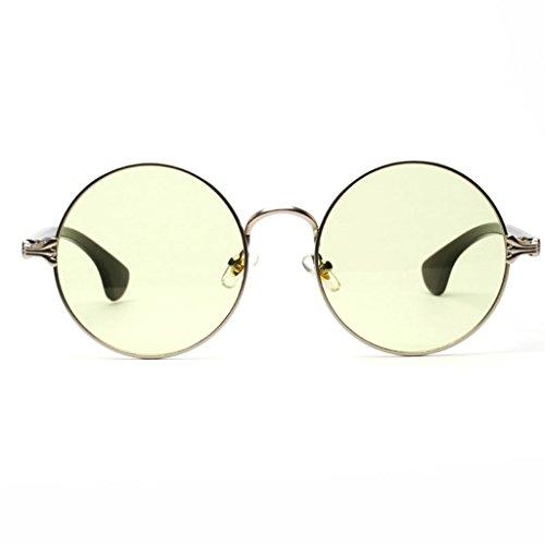 Unisexe En Soleil en Décontracté Style Rétro Sharplace Lunette Vert Acrylique De Ronde Mode wtBHRqCR