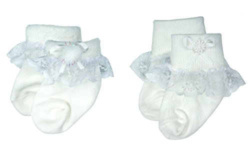 Liwely 2 Pairs Baby Girls White Lace Trim Socks, Turn Cuff L