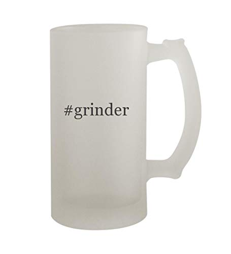 #grinder - 16oz Sturdy Hashtag Glass Frosted Beer Stein